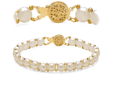 14k Yellow Gold 7mm Freshwater Pearl &quot;Button&quot; Bead Bracelet
